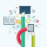 平的线教育的设计观念 免版税库存照片