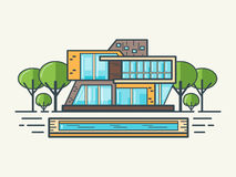 平的线现代房子 免版税库存照片