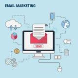 平的线电子邮件行销的设计观念,用于网横幅,英雄图象,铅印材料 免版税库存图片