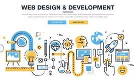 平的线设计传染媒介网站设计和发展的例证概念