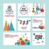 平的线设计圣诞节和新年的概念 库存图片