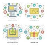 平的线付款,银行业务,购物企业概念设置了传染媒介例证 库存图片