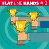 平的线hands_3 免版税库存图片