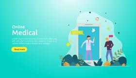 平的网上医嘱或医疗保健服务 电话医生与人字符的支持概念 r 库存例证