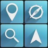 平的网和应用的象集合地图标志。 免版税库存图片