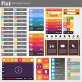 平的网络设计,元素,按钮,象。网站的模板。 免版税图库摄影