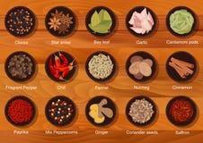 平的美味香料和调味品象 免版税库存图片