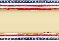 水平的美国肮脏的旗子 免版税库存图片