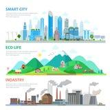 平的聪明的城市Eco生活产业自然污染 库存照片