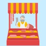 平的肉店设计元素和象 肉制品 人字符 免版税图库摄影