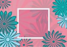 平的艺术假日卡片 在桃红色背景的雏菊 库存照片