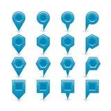 平的蓝色颜色表别针信号点象 免版税库存照片