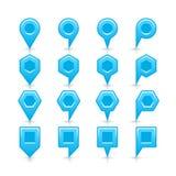 平的蓝色颜色表别针信号点象 免版税库存图片