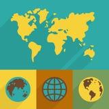 平的行星符号集 免版税库存图片