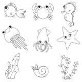 平的被设置的设计逗人喜爱的动物 库存图片