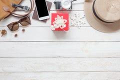 平的装饰&装饰品圣诞快乐的位置空中图象 图库摄影