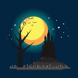 平的设计万圣夜城堡例证 免版税库存照片