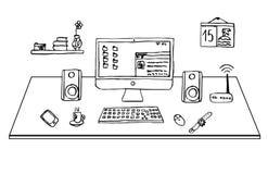 平的设计事务所书桌,单图,传染媒介,例证 免版税库存图片