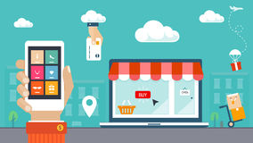 平的设计例证。电子商务、购物&交付 库存图片