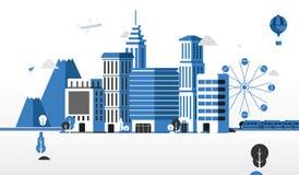 平的设计例证,城市生活 免版税图库摄影