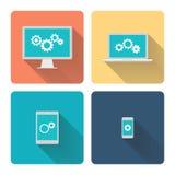 平的设计例证:计算机编程 钝齿轮,在屏幕上的齿轮 库存照片