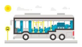 平的设计公共汽车内部infographic 免版税库存图片