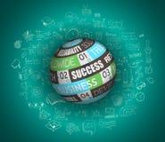 平的设计和手拉的概念企业成功的 免版税库存图片
