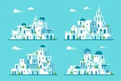 平的设计圣托里尼村庄集合 库存照片
