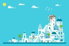 平的设计圣托里尼海岛村庄 库存图片