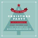 平的设计圣诞晚会邀请树 免版税库存照片