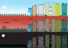 平的设计城市大厦早晨,晚上,夜 库存例证