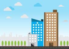 平的设计城市大厦 向量例证