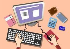 平的设计工作书桌用手 办公室工作场所顶视图 免版税库存照片