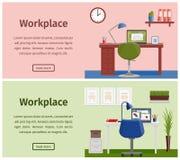 平的设计工作区或家庭工作场所 向量背景 库存照片