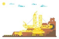 平的设计戽头转轮挖土机采矿背景 库存图片