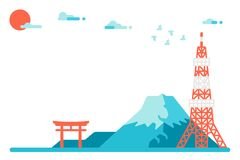 平的设计日本地标背景 库存照片