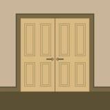 平的设计木双门 免版税库存照片