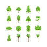 平的设计树集合 库存照片