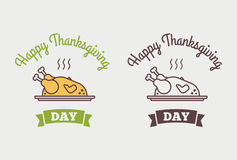 平的设计样式愉快的感恩天略写法、徽章和象 免版税库存图片
