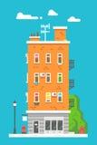 平的设计欧洲五颜六色的公寓 免版税库存照片