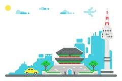 平的设计汉城地标设置了背景 库存照片