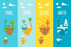 平的设计漂浮海岛的4个季节 免版税库存图片