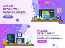 平的设计现代传染媒介例证概念 商业运作套平的颜色横幅设计 网站发展,网络设计 图库摄影