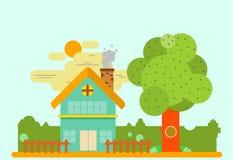 平的设计的简单的房子 库存例证