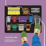 平的设计脚蹬影响委员会有吉他弹奏者顶视图 免版税库存图片