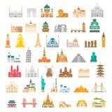 平的设计著名地标集合 免版税库存图片