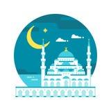 平的设计蓝色清真寺赖买丹月 免版税图库摄影