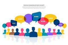 平的设计观念人民与气球消息泡影谈话 Ve 库存例证