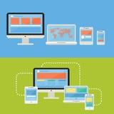 平的设计观念计算机设备和敏感网络设计象传染媒介 库存照片