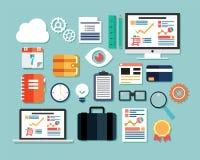 平的设计象、计算机和移动设备,分类的汇集 免版税库存照片